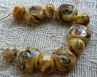Lampwork Glass Beads by Catalinaglass SRA  Honey Caramel