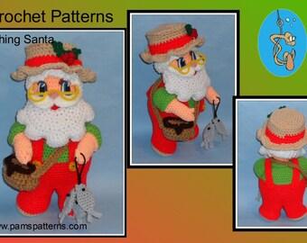 Crochet Pattern Fishing Santa, crochet Santa, crochet Christmas, crochet home decor