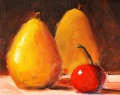 Still Life, Oil Painting, Small, Fruit Painting, 6x6 Canvas, Yellow Pears, Red Cherry, Kitchen Wall Decor, Original, Food Art, Square Format