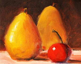 Still Life Oil Painting, Small Fruit Painting, 6x6 Canvas, Yellow Pears, Red Cherries, Kitchen Wall Decor, Original Food Art, Square Format