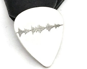 Sterling silver guitar pick with your heartbeat, soundwave or handwriting