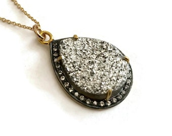Titanium teardrop druzy with pave white topaz necklace, Perfect gift for her!