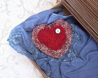 Lingerie Lavender Silk Tapestry Red Heart Sachet with Mother of Pearl Button - I Love You Keepsake Gift for Valentine's Mother's Day STLH04