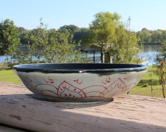 Scrying bowl - blue with henna inspired pattern exterior, black interior