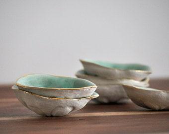 Sea Biscuit Ring Dish Bowl - Trinket Dish Gold Blue Small Bowl Sand Dollar Ceramic