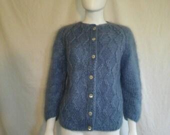 SALE Mohair Wool Nylon Cardigan Sweater // Handmade Sweaters //  Thick Sweater // Shell Button Cardigan // Made in Italy