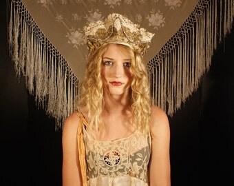 Kokoshnik style Boudoir Queen  Russian headdress headband