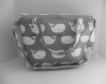 Diaper Bag - Gray Whale - Whale Diaper Bag - Messenger Bag - Large Diaper Bag - Gray Diaper Bag - Crossbody