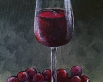 "Wine and Grapes 5"" x 7"" Original Wine Still Life Painting by Torrie Smiley"