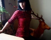 Modern Lovers ~ iheartfink Handmade Hand Printed Womens Red Black Stripes Fitted Jersey Top