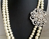 Statement Wedding Necklace, Vintage Style Wedding Jewelry, Pearl Bridal Necklace, Bridal Jewelry, Art Deco Bridal Necklace, Vintage, CYNTHIA