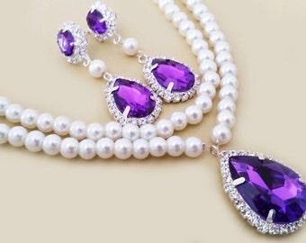 Weding Jewelry Set, Bridal Necklace Earrings Set, Vintage Inspired Wedding Jewellery Set, Purple Drop Amethyst Bridesmaids Statement Crystal
