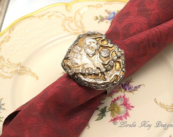 Napkin Ring Art Nouveau Inspired Woman Gothic Soldered Cast Clay Napkin Ring