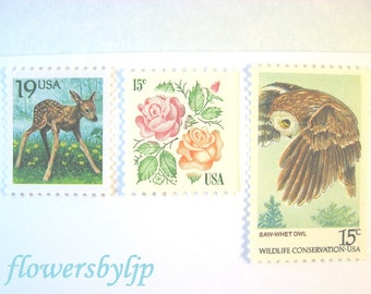 Rustic Nature Postage Stamps Vintage, 2017 rate 1 oz, Fawn - Owl - Roses Stamps, Mail 10 RSVPs or Cards, 49 cents postage, Baby Deer Stamps