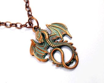 Dragon Pendant Necklace, Teal Verdigris Patina Finish, Brass Chain Necklace, FREE Shipping U.S.