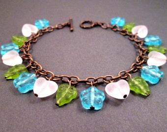 Flower Charm Bracelet, Blue Green White and Brass Beaded Bracelet, FREE Shipping U.S.