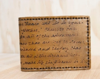 Mens Wallet - Custom Leather Wallet - Personalized Wallet in the Smokey Pattern antique brown - Quote or Inscription