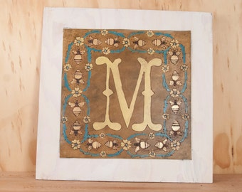 Oversized Letter - Handmade Leather and Wooden Wall Letters in the Melissa pattern with Bee and Flowers