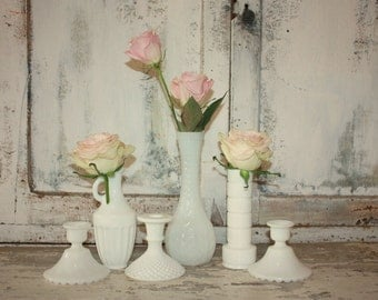Vintage Milk glass,  set of 6 milk glass vase and small planter collection, white vase wedding decor, table centerpiece, candlestick