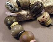 Handmade Lampwork Bead Set by Monaslampwork - Unearthed II- Handmade Lampwork by Mona Sullivan Boho Organic Tribal Gypsy Stones Reactions