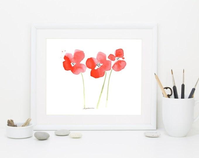 """Watercolor poppies art print: """"Poppy Garden"""""""