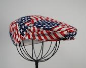 Patriotic American Flag Inspired Patchwork Print  Cotton Jeff Cap, Flat Ivy Cap, Driving Cap -
