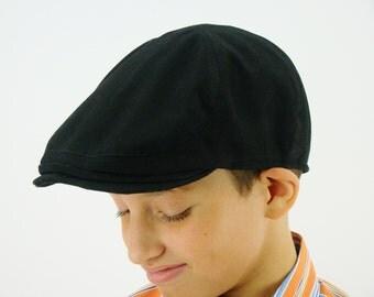Custom 6-Panel Handmade Flat Cap Driving Cap for Men in Black Cotton Twill - Custom Hats