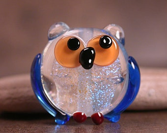 Art Glass Owl Bead Totem Dichroic Glass Divine Spark Designs SRA