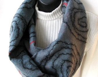 Nuno Felted Cowl Scarf  - Red and Gray Swirl - Winter Fashion Scarf for Men or Women Reversible  Silk and Merino Wool Scarf gift for her