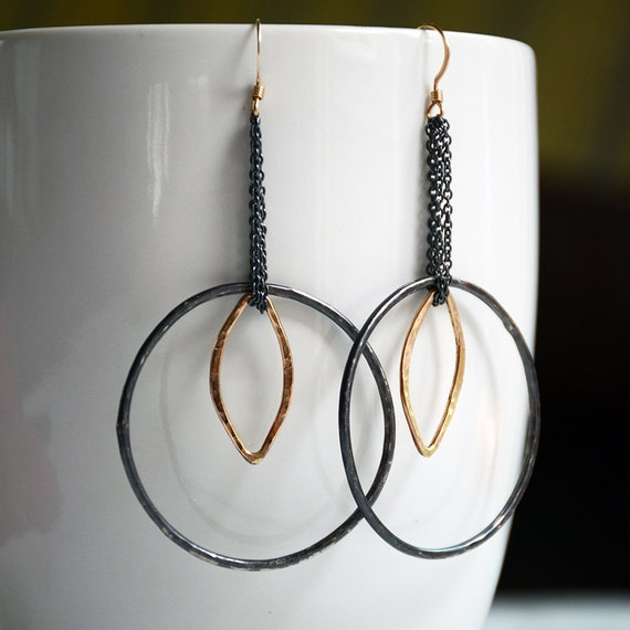 black and gold statement artisan hoop earrings