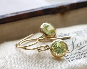 Gold drop earrings with peridot cubic zirconia stones - yellow gold cz earrings