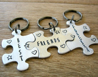 Best Friends Forever Keychains, Set of 3 Puzzle Pieces, interlocking, put names on the back, bff gift, friends gift, puzzle keychains