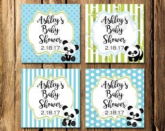 Printable Pink Panda Boy Baby Shower Gift Tags