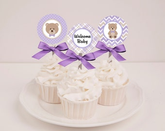 Printable Lavender Teddy Bear Baby Shower Cupcake Toppers - Instant Download