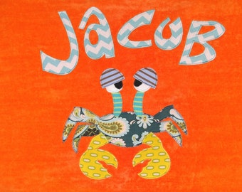 Personalized Large Orange Velour Beach Towel with Crab, Beach Towel, Pool Towel, Wedding Gift, Wedding Shower Gift, Bridal Party Gift, Pool