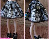 MiniFee Slim MSD Sugar Skull Skirt by Tickled Pink by Julie