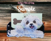 Maltese dog Business Card / Cell Phone Holder handmade OOAK by Sally's Bits of Clay