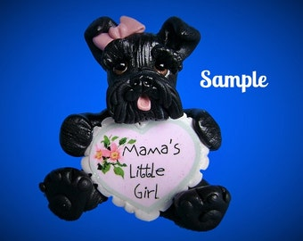 Black Schnauzer Dog pink bow Mama's Little Girl natural ears Sculpture OOAK art by Sally's Bits of Clay