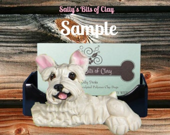 White Schnauzer Natural ears Business Card / Cell Phone / Iphone Holder OOAK Sculpture by Sally's Bits of Clay