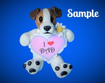 Jack Russell Terrier dog Sculpture love DAD Father's Day OOAK Clay art by Sallys Bits of Clay