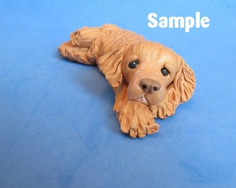 Golden Retriever Dog Original One of a Kind (OOAK) SCULPTURE polymer clay art by Sally's Bits of Clay