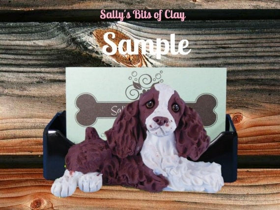 liver and white English Springer Spaniel Dog Business Card / Cell Phone / Smart Phone Holder OOAK by Sally's Bits of Clay