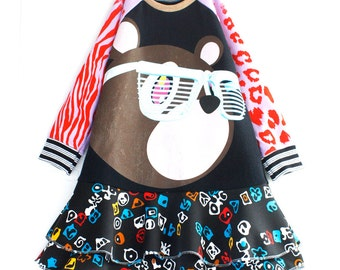 North West COURTNEYCOURTNEY 3T eco upcycle kanye Takashi Murakami graduation bear dress