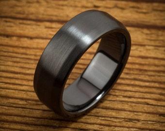Classic Beveled Black Zirconium Men's Comfort Fit Wedding Ring Quick Ship QZ0029