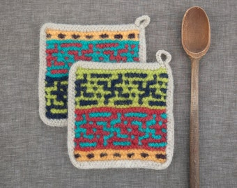 Set of Two Felted Wool Potholders  Felted Wool Trivets  Functional Art for the Modern Kitchen Hand Made in Red Turquoise Lime Squash Mink