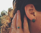 River Goddess Turquoise Silver Stud Earrings - December Birthstone - Bohemian, Vintage, Lace Bezel, Yugen - Wild Heart
