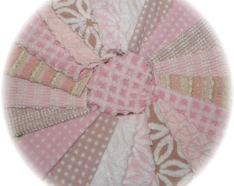 Vintage Chenille Bedspread Quilt Charm Squares Kit  6 inch 30 pcs DIY Patchwork Lot Taupe Tan and Pink