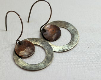 Rustic industrial Sterling silver circle and copper disk dangle earrings