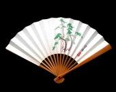 Japanese Hand Fan - Vintage Paper Fan - Sensu - Vintage Japanese Fan - Pine Trees  (F103) Small Size