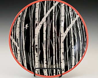Shallow Bowl with Sgraffito Carved Birch Tree Design- Reserved for Wendy